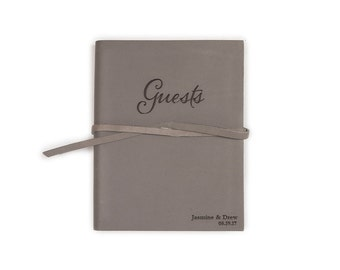 """Wedding Guest Book Leather, 5.25"""" x 6.75"""", Wedding guest book, Various colors"""