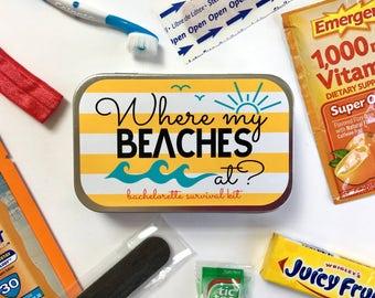 Bachelorette Survival Kit, Bachelorette Party Kit, Bachelorette Party Favors, Beach Bachelorette Getaway, Beach Bachelorette Party, UNFILLED