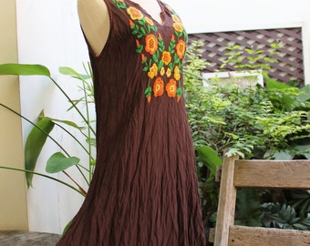 Sleeveless Bohemian Embroidered Tunic - Choc Brown