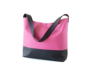 Pink leather hobo bag, pink vegan leather bag, pink handbag, faux leather bag, pink bag, eco bag, vegan bag, handmade handbags, large tote