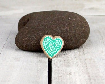 small hand drawn wooden LOVE heart brooch pin in metallic green and white