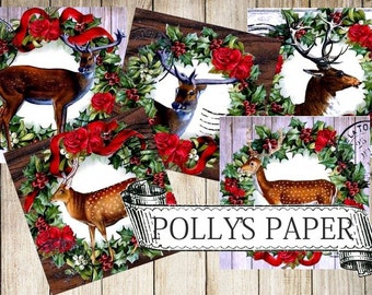Woodland Deer Christmas Collage Digital Images printable download file for Cards and Tags and Crafts Polly's Paper Studio 6 Images