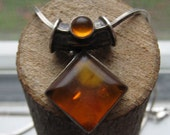 Vintage Sterling Silver Amber Pendant with a Sterling Silver Necklace for Women Retro Pendant