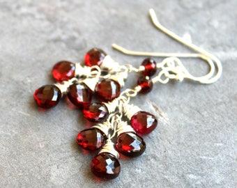 Garnet Earrings, Red Gemstone Earrings, Cluster Earrings, Sterling Silver Delicate Jewelry January Birthstone Earrings