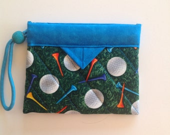 """Golfer's Tee Bag - Quilted Fabric Mini Snap Bag Pouch 5"""" x 4"""""""
