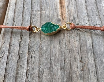 Green Druzy Bracelet Gift ready to Ship Adjustable