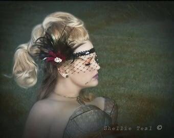 Great Gatsby Headband, Flapper Headband, 1920s Head Piece, Art Deco Headband, Rhinestone Veil/Mask, Flapper Girl Headband,Black Burgundy