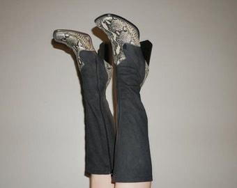 90s western snake print denim diva sock boot size 8