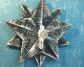 Wooden Star Wall Art Sign Black White Turquoise Beach House Nautical Barn Star Glass Knob by CastawaysHall - READY TO SHIP