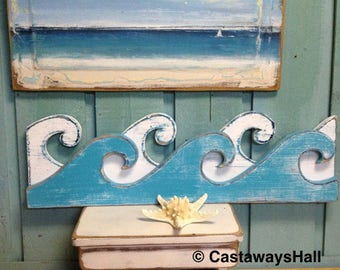 Waves Sign Wall Art Beach House Coastal Nautical Wall Shelf Decor 30 inches by CastawaysHall