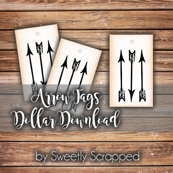 Arrow Tags Instant Printable PDF, Digital Download, Arrows, Aged Look, Gift Tag, Packaging, Label, Sweetly Scrapped, Small, DIY