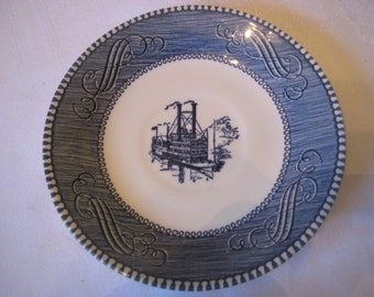 """Vintage Currier & Ives Saucer; River Boat/Steamboat, By Royal China - Royal Ironstone, Blue Underglaze, Made in USA, 6"""". 1 pc."""