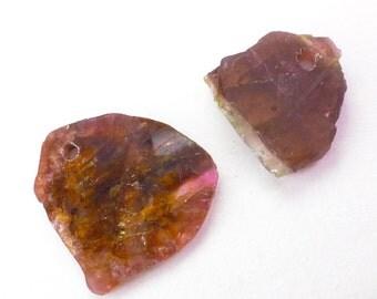 TOURMALINE Slice BEaD. Natural Tourmaline. Pendant, Focal Beads. Polished. 2 pc. 10.75 cts. 18x21x2 and 20x14x2.5 mm (TM2376)