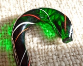Antique Walking Stick, Glass with Christmas colors, Solid Blown Glass