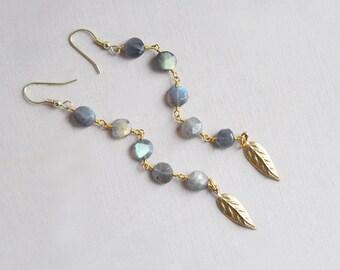 Labradorite Earrings, Long Earrings, Leaf Earrings, Stone Earrings, Labradorite, Natural Stone Earrings, Nature Earrings, Everyday Earrings