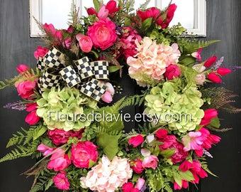 NEW! Spring Door Wreath, MacKenzie Childs Inspired,  Spring Wreath for Door, Front Door Wreath, Grapevine Door Wreath, Mothers Day