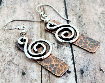 Silver Spiral Earrings - Hammered Copper Rectangle - Mixed Metal Jewelry - Everyday Earrings