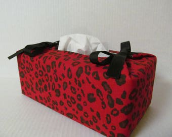 Tissue Box Cover/Red Leopard