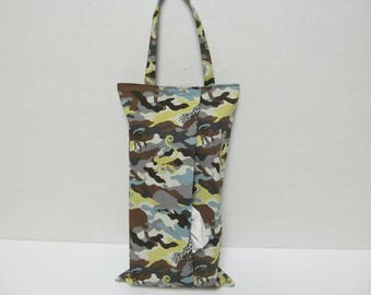 Hanging Tissue Box Cover For Skinny Kleenex/Animal in Camouflage/Brown and Gray