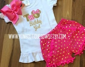 Pink gold polka dot pom pom Bow mouse Shorts Matching Boutique Hairbow Girls Short Long Shirt Tank Top Birthday 1st 2nd vacation two one