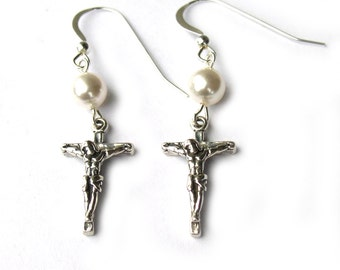 Cross Earrings Crucifix Sterling Silver with Pearl