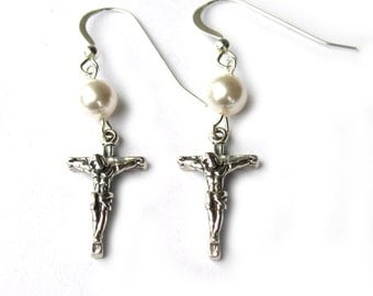 Pearl Earrings with Crucifix Cross Sterling Silver