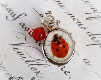 Ladybug Petite Broken China Jewelry Lady Bug Charm