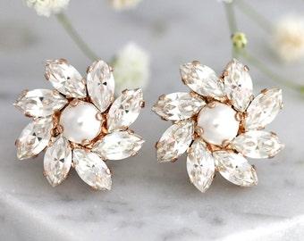 Bridal Pearl Earrings, Bridal Earrings, Bridal Clear Crystal Earrings, Swarovski Crystal Earrings, Bridesmaids Earrings,Cluster Pearl Studs