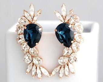 Blue Navy Earrings, Statement Earrings, Dark Blue Earrings, Bridal Blue Navy Earrings, Bridal Navy Blue Long Earrings, Swarovski Earrings