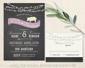 i do bbq wedding reception invitations chalkboard cookout invitation pig roast country western invites colors optional - Wedding Reception Invites