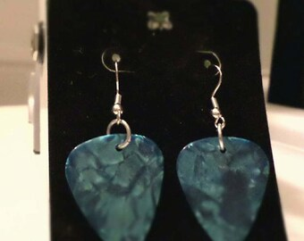 Blue Guitar Pick Earrings