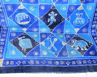 Vintage African batik fabric/vibrant blues/tribal textile