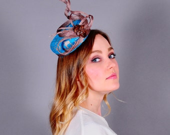 Turquoise green fascinator, lace fascinator, couture fascinator, Kentucky Derby hat