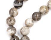 Silver Leaf Jasper (Gray Banded) Beads - 8mm Round