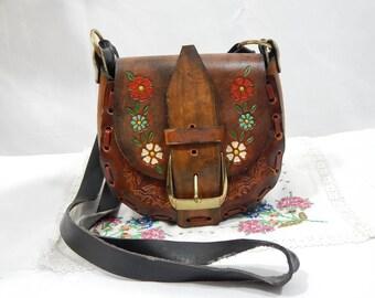 Vintage 60s ,Leather ,Hippie Handbag,Bohemian,Big Brass Buckle , Crossbody,Small Floral, Authentic 60s, Handmade