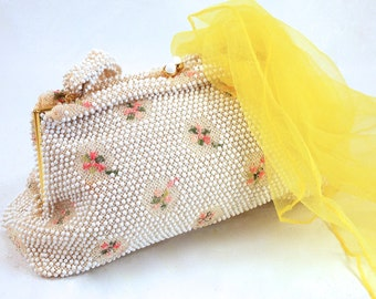 Corde, Beaded Bag, Purse, by Lumured, White with Clear Bead accents, Pink and Green Flowers, circa 40's 50's Fashion, Bridal, Special events