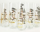 Bridesmaid Gifts Personalized Stemless Champagne Flutes Bridal Party Gifts Bridesmaid Champagne Glasses Bachelorette Party Bridal Shower