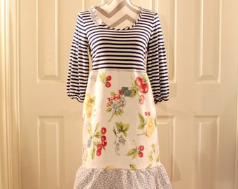 Sweet Upcycled Dress - Stripes, Flowers, Fruit, & Blue Jean Patchwork - Navy, Red, White, Yellow, Green - Women's Size Small to Medium