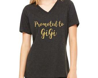 Promoted to...(any name) charcoal black v-neck flowy women's tee, godmother, aunt, gigi, grandma, etc.