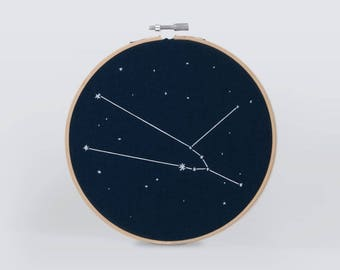 Taurus zodiac star sign embroidery wall hanging art, hand embroidered constellation