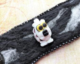 Whimsical Lampwork Cuff - Happy Puppy - Felted Bracelet - Gift - Pet Themed Jewelry - Statement Bracelet - Beaded Bracelet - Needle Felt