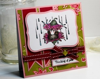 "Thinking of You Card - Handmade Card Greeting Card 5.25 x 5.25"" House Mouse  3D Card Stationery Blank Card - OOAK"
