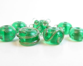 Green Lampwork Beads // Chrismas Lampwork Beads // St. Patricks Day Beads // Green and Gold Lampwork // Green and Gold Glass Beads