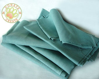 Linen fabric remnants Sale! Thick rustic linen flax large out cuts for DIY decor; Homespun-like cyan teal ocean blue color pure linen fabric