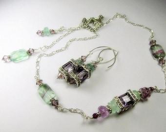Plum Purple and Light Green Fluorite Gemstone Swarovski Cube Versatile Asymetrical Geometric Necklace and Earring Set