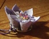 Lilac White Polkadot Mermaid Fish Scale Handmade Fabric Origami Flower Necklace