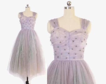 RESERVED /// Vintage 50s PARTY DRESS / 1950s Beaded Starburst Lavender Cupcake Tulle Full Skirt Gown S