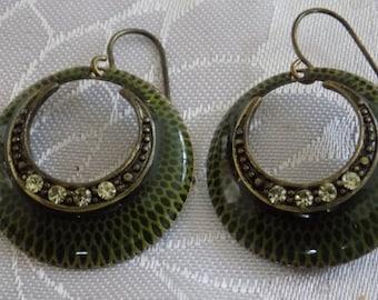Vintage earrings, olive green enamel and crystal lightweight dangle drop earrings, jewellery