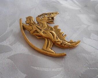 "Vintage brooch, ""Lady on dragon"" brooch, signed brooch, designer brooch, 1960s brooch, unique brooch, boho jewelry"
