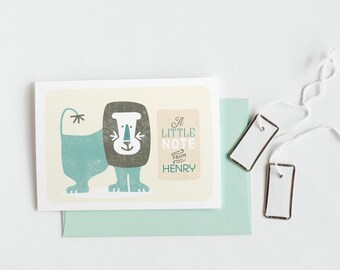 Lion Kid's Stationery Set, Personalized Note Cards, Baby Gift // LION